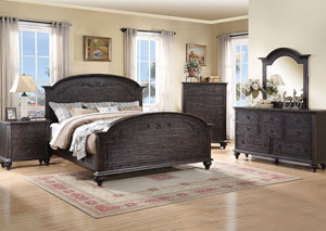 Bellagio Black Weathered Worn Queen Carved Bed w/Dresser, Mirror and Nightstand