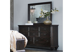 Bellagio Black Weathered Worn 8 Drawer Dresser