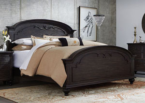 Bellagio Black Weathered Worn Queen Carved Bed