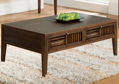 Modern Gatherings Brushed Acacia Open Slat Coffee Table