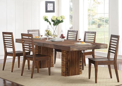 Modern Gatherings Brushed Acacia Rectangular Extension Leaf Dining Table w/6 Side Chairs