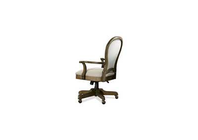 Belmeade Oak Round Back Upholstered Desk Chair