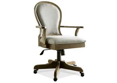 Belmeade Oak Scroll Back Upholstered Desk Chair