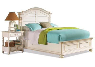 Placid Cove Honeysuckle White Queen Arch Panel Bed