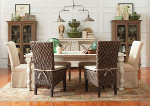 Aberdeen Weathered Worn White Rectangle Extension Dining Table w/2 X-Back Chairs, 2 Slipcover Chairs & 2  Woven Leaf Chairs