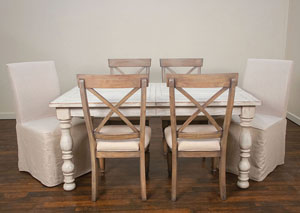 Aberdeen Weathered Worn White Rectangle Extension Dinning Table w/4  X-Back Side Chairs & 2 Slipcover Chairs