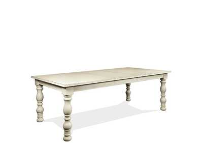 Aberdeen Weathered Worn White Rectangle Dining Table w/1 18