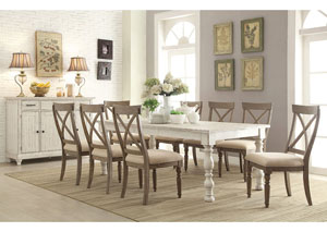 Aberdeen Weathered Worn White Rectangle Extension Dining Table w/8 X-Back Side Chairs