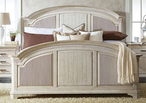 Aberdeen Weathered Worn White Full Reeded Panel Bed