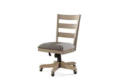 Perspectives Beige Wooden Upholstered Desk Chair