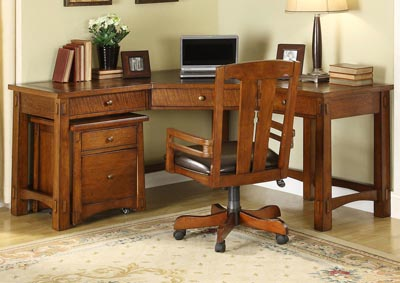Craftsman Home Oak Corner Desk