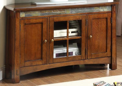 Craftsman Home Oak Corner TV Console