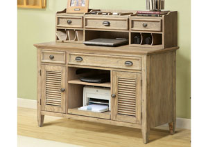 Coventry Weathered Driftwood Credenza Desk & Small Hutch