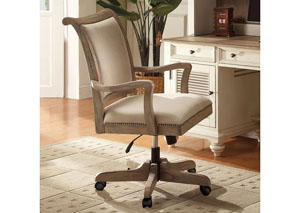Coventry Weathered Driftwood Upholstered Desk Chair