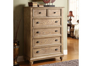 Coventry Weathered Driftwood 5 Drawer Chest