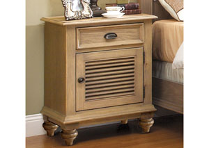 Coventry Weathered Driftwood Shutter Door Nightstand