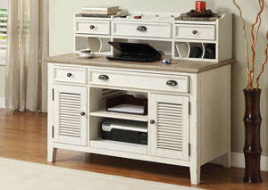 Coventry Two Tone Weathered Driftwood/Dover White Credenza Desk