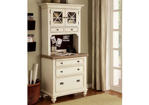 Coventry Two Tone Weathered Driftwood/Dover White Personal Workstation w/Base & Deck
