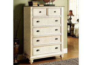 Coventry Two Tone Weathered Driftwood/Dover White 5 Drawer Chest