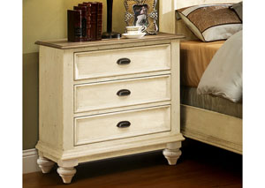 Coventry Two Tone Weathered Driftwood/Dover White 3 Drawer Nightstand