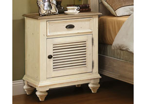 Coventry Two Tone Weathered Driftwood/Dover White Shutter Door Nightstand