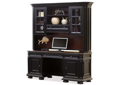 Allegro Burnished Cherry/Black Credenza Desk w/Hutch