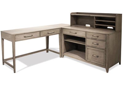 Vogue Gray Wash L Desk With Storage