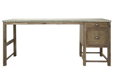 Liam Gray Acacia/Galvanized Metal Return Desk