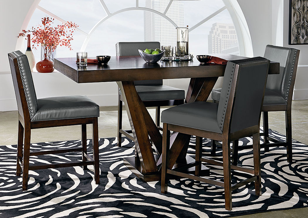 Couture Elegance Dark Chocolate Counter Height Pedestal Table W/4 Gray  Counter Height Chairs,