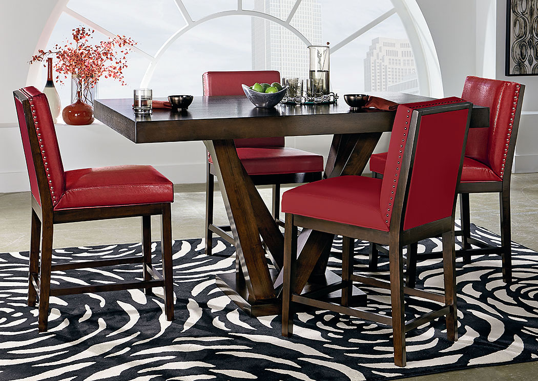Couture Elegance Dark Chocolate Counter Height Pedestal Table W/4 Red  Counter Height Chairs,