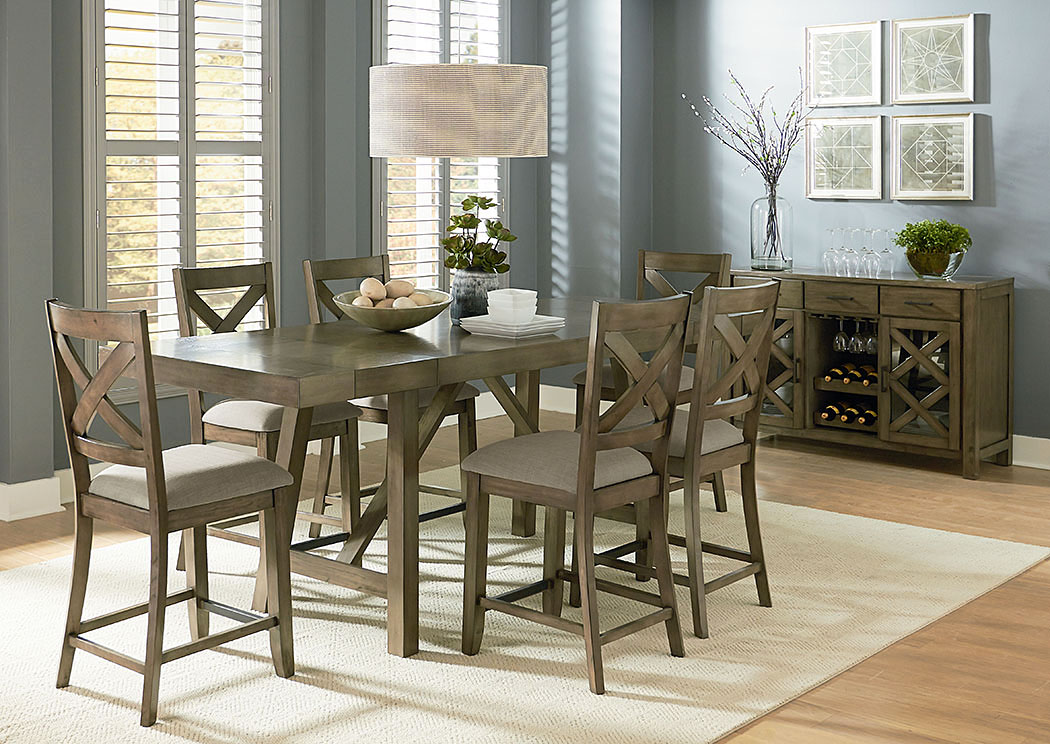 Omaha Grey Counter Height Table W/6 Counter Height Barstool,Standard