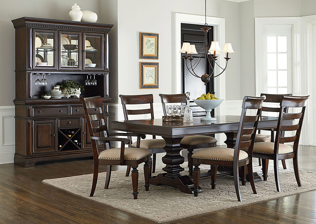 Genial Charleston Warm Tobacco Brown Extension Dining Table W/2 Arm Chairs And 4  Side Chairs