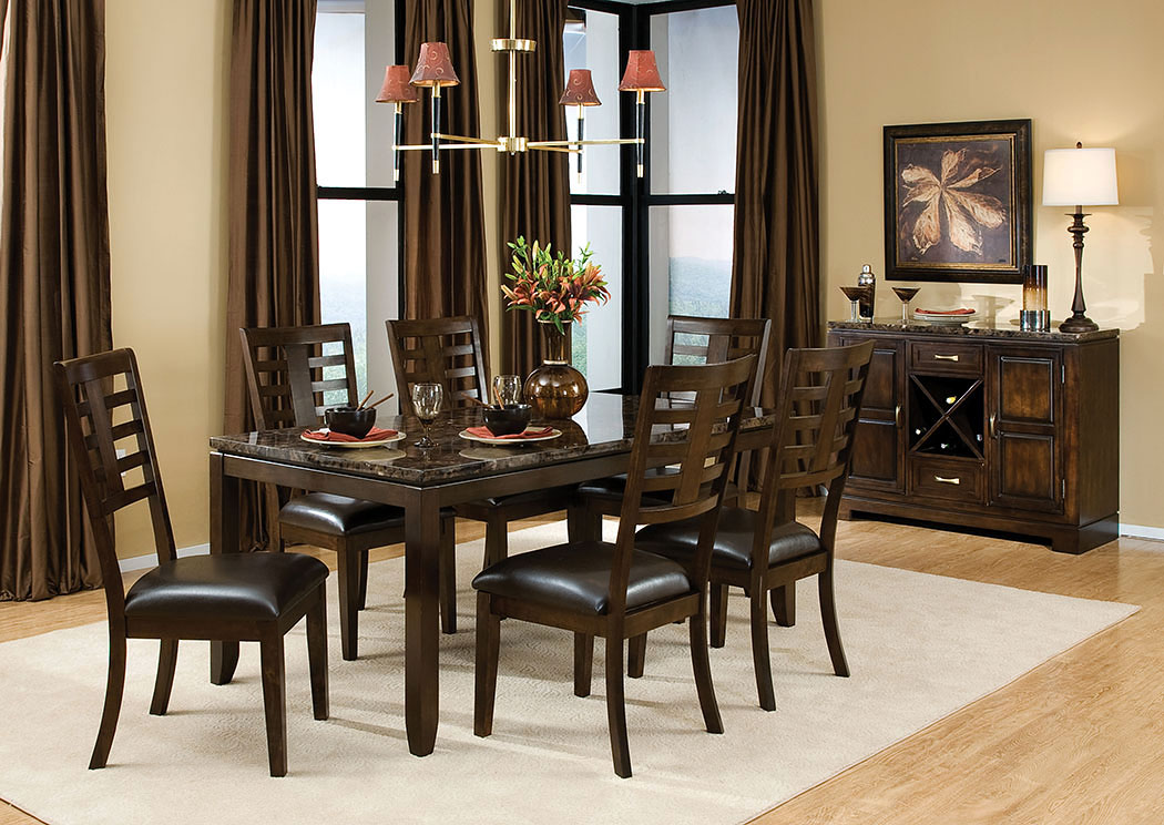 Superbe Bella Marbella Top Dining Table W/6 Side Chairs,Standard