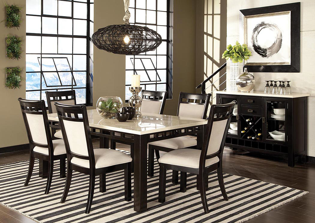 Gateway Dark Chicory Brown White Marble Top Dining Room Table W/6  Upholstered Side