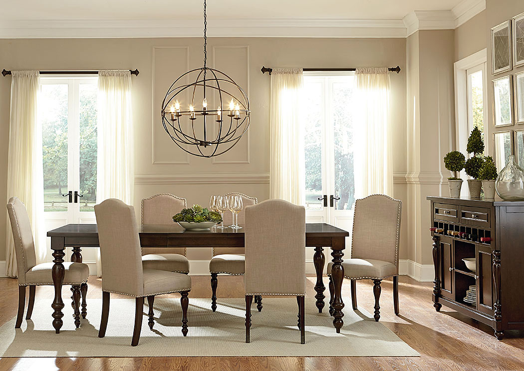 McGregor Dark Midnight Brown Dining Room Table w/6 Upholstered Side Chairs,Standard