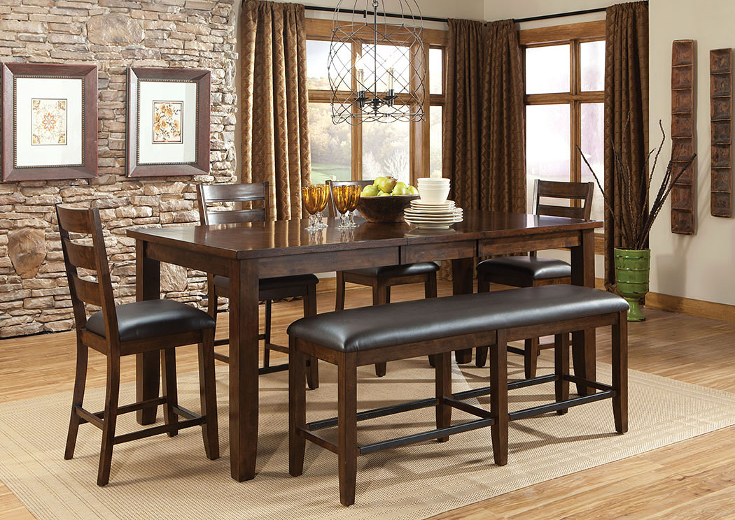 Abaco Warm Dark Tobacco Brown Extension Counter Height Dining Table w/4 Counter Height Chairs & Dining Bench,Standard