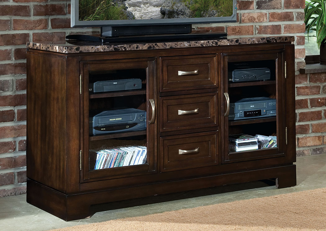 Bella Warm Chocolate Cherry TV Console w/Marbella Top,Standard