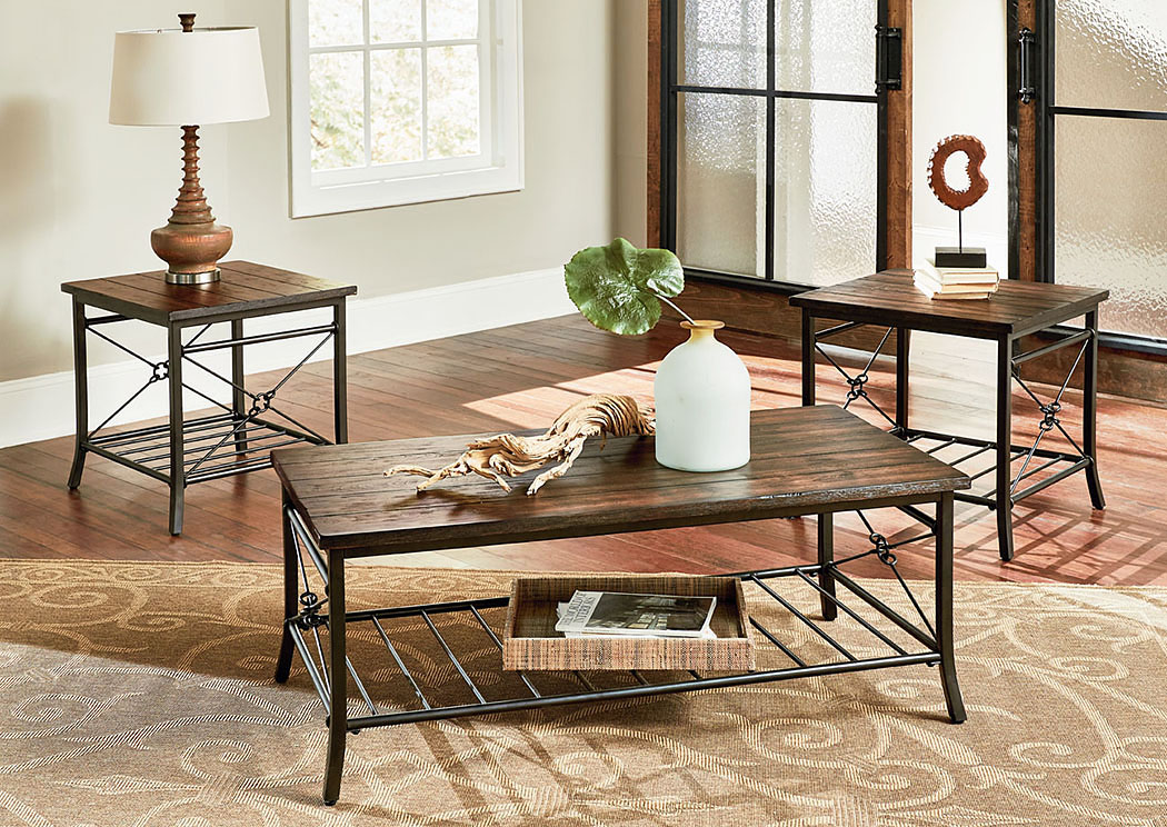 Ainsley Rustic Brown Occasional Table Set,Standard