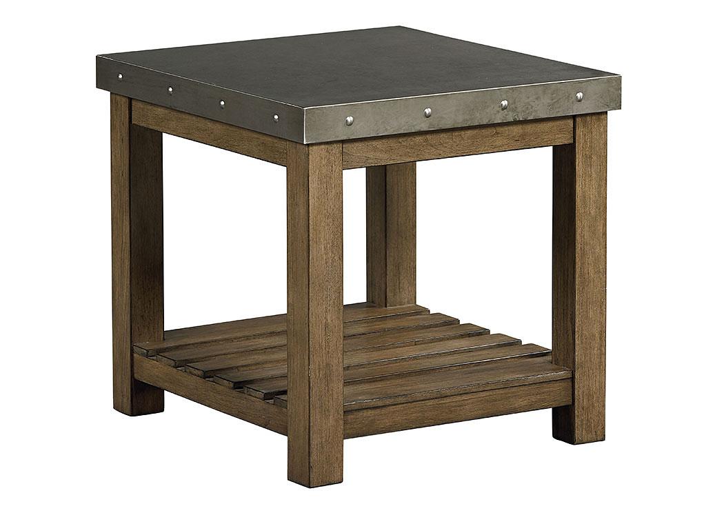 Riverton Weathered Wood End Table W/Sheet Metal Top U0026 Bottom Shelf,Standard
