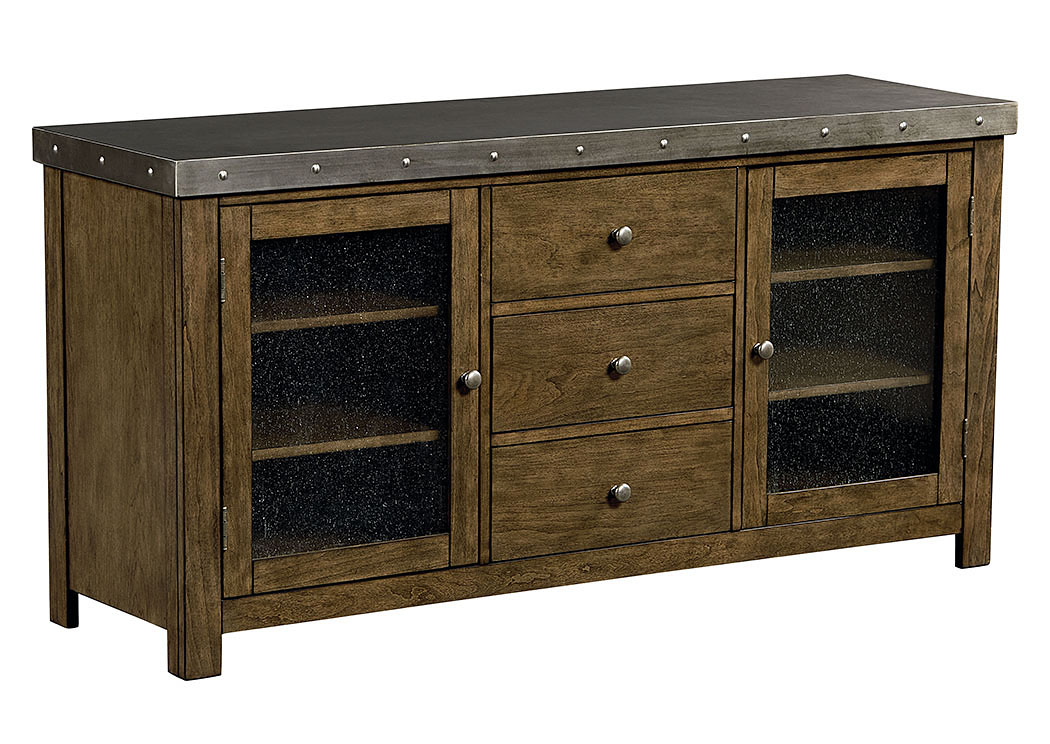 Riverton 60' Weathered Wood Entertainment Console w/Sheet-Metal Top & Bottom Shelf,Standard