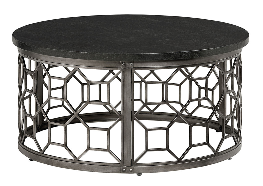 Nationwide Mattress Furniture Warehouse Equinox Round Stone Top - Geometric base coffee table