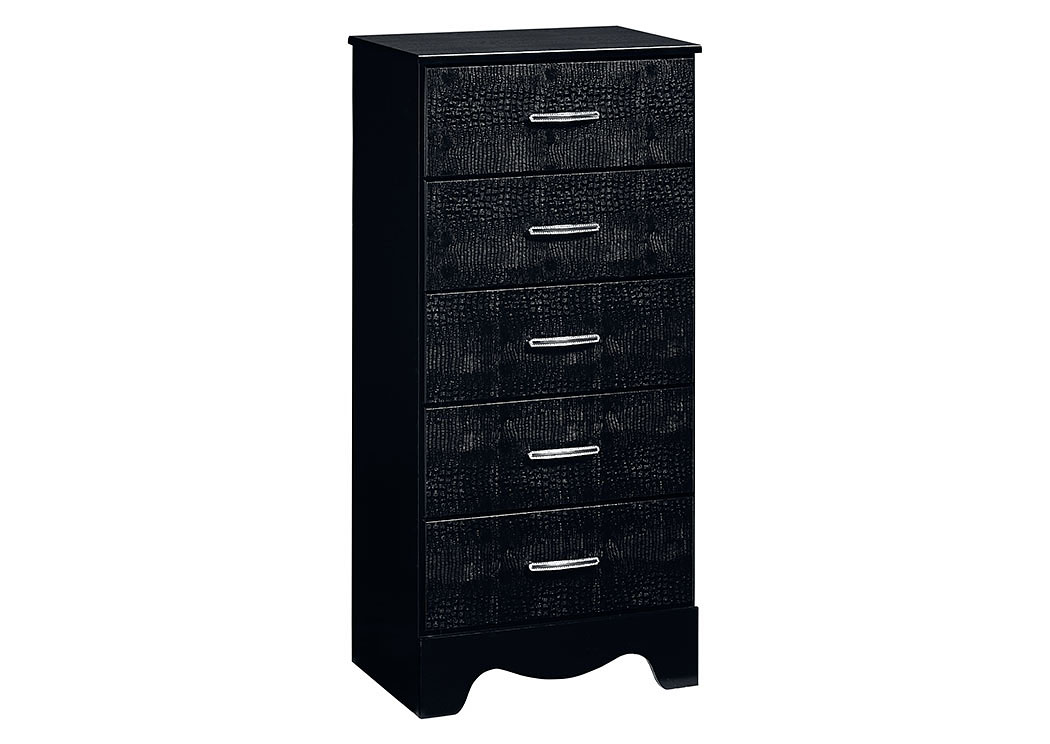 Vogue Glossy Black Faux Crocodile Lingerie Chest,Standard