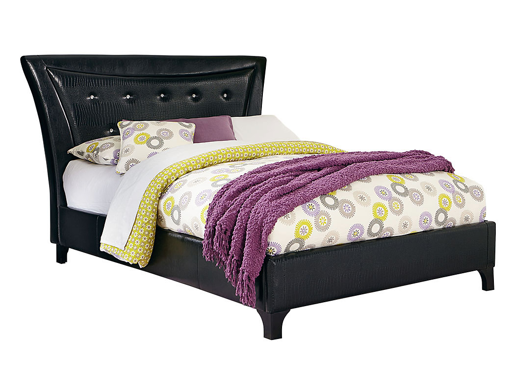 Vogue Glossy Black Faux Crocodile Upholstered Full Bed,Standard