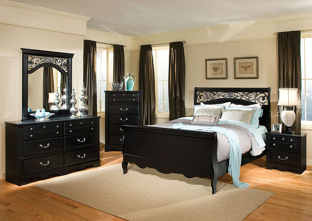 V Watts Furniture Madera Ebony Black Scrolled Grill King Sleigh Bed