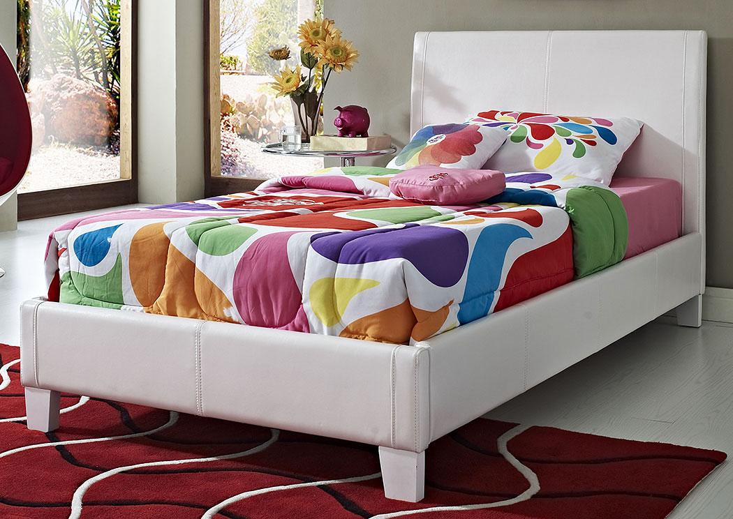 V Watts Furniture Fantasia White Upholsteredplatform Twin Bed