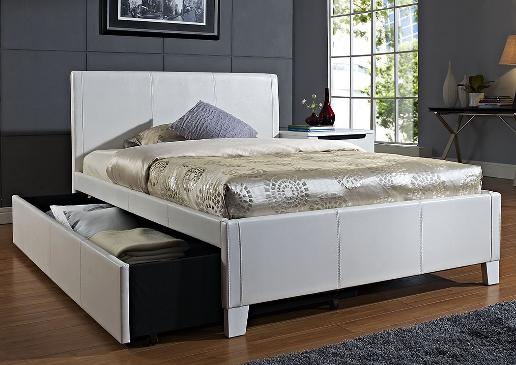 Trundle Bed.Long Furniture Rainbow City Al Fantasia White Upholstered Twin