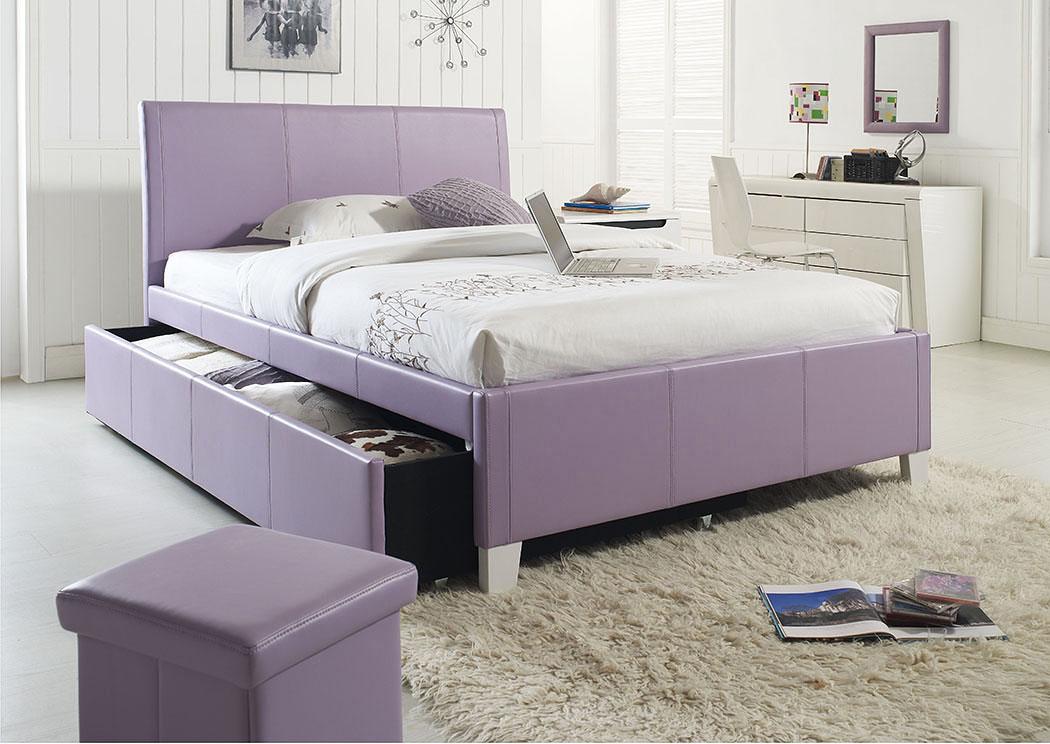 V Watts Furniture Fantasia Lavender Upholstered Twin Trundle Bed