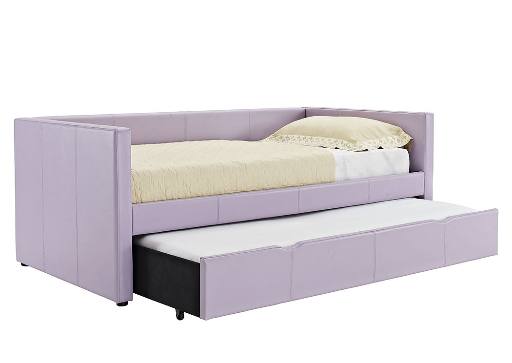 Lindsey Purple Upholstered Twin Daybed w/Pull-Out Trundle,Standard