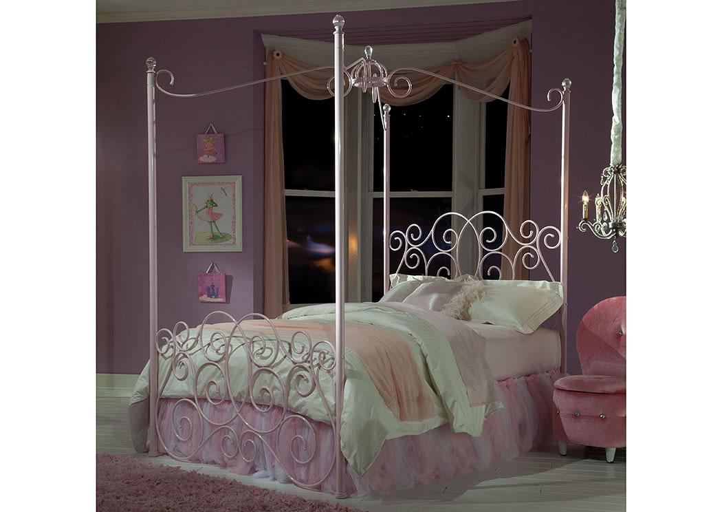 V Watts Furniture Princess Pink Twin Metal Canopy Bed