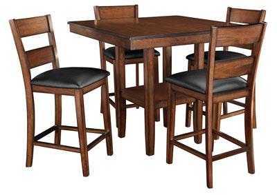 Pendwood Brown Counter Table w/4 Side Chair